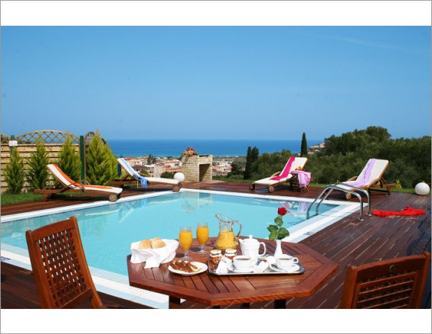 Enjoy your breakfast next by the pool and the view of Ionian sea.